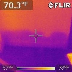 FLIR Image of hidden moisture in wall.